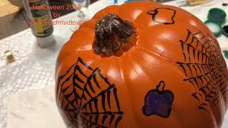 DIY easy painting for Halloween pumpkin by Gitka Schmidtova