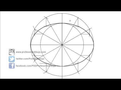 Trazar una elipse conocidos sus ejes, método de proyección de puntos, afinidad (Curvas cónicas).