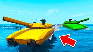 DRIVING Our TANKS On WATER IN GTA! (insane)