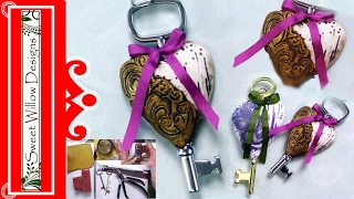 How to Make a Polymer Clay Heart & Key Pendant/Ornament #LoveArt