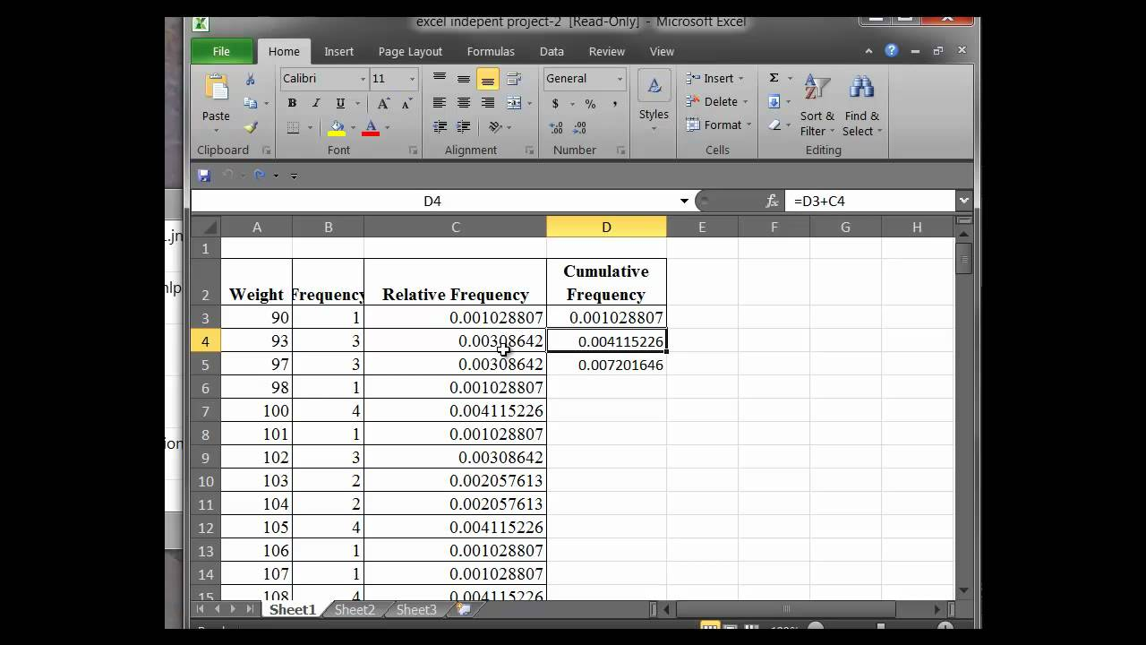 how to calculate mean from cumulative frequency table