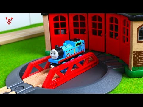 Wooden trains for kids Thomas and friends at the wooden brio railway for kids