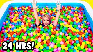 24 HOURS CHALLENGE In a GIANT Ball Pit