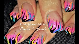 Neon Rainbow Flame Nails | DIY Fire Nail Art Party Design Tutorial
