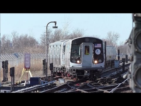 NYC Subway HD 60FPS: Bombardier R179 3010-3019 Test Train Leaving Broad Channel (3/29/17)