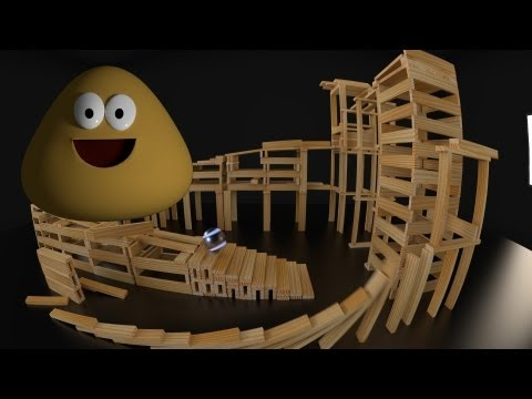 3D Animation: Pou Meets KEVA Contraption (and breaks it) [made with Blender 3D]