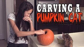 Carving a cat pumpkin for the first time!