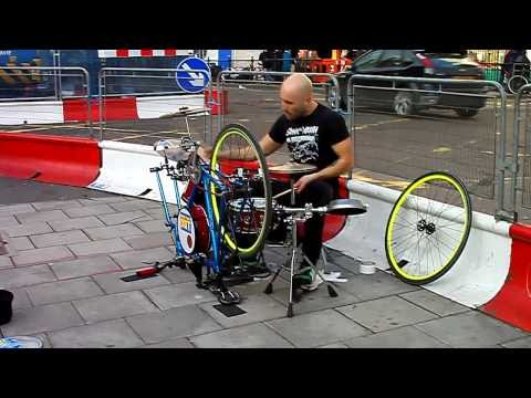 Fantastic Street Drummer on Homemade Racing Bike Music Videos