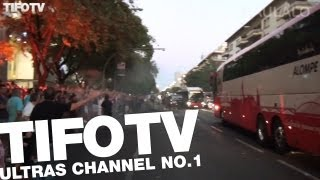 BIRIS NORTE. .. WELCOME THEIR TEAM ON THE WAY TO THE STADIUM - Ultras Channel No.1