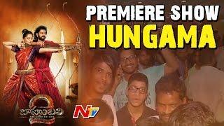 Baahubali 2 Movie Premiere Show Hungama in Hyderabad