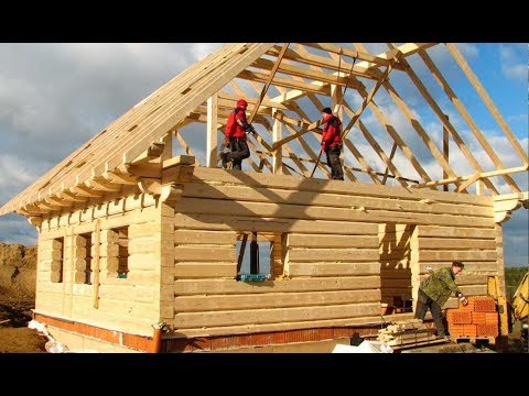 World Amazing Intelligent Wooden House Build Process - Extreme Fastest Log House Build Skills