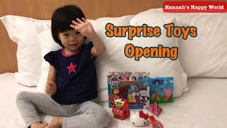Surprise Toys Opening with Good Baby Hannah! Peppa Pig, Hello Kitty, My Little pony for kids