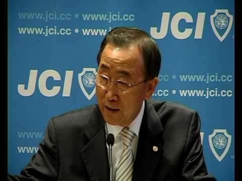 The UN Secretary-General Ban Ki Moon addresses JCI Global Partnership Summit
