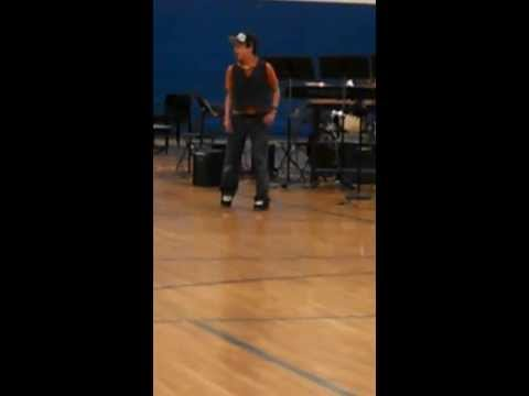 Joshua breakdancing Haller Middle School