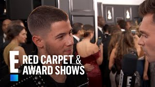 Nick Jonas Sports Stunning Balmain Jacket at 2017 Grammys | E! Live from the Red Carpet