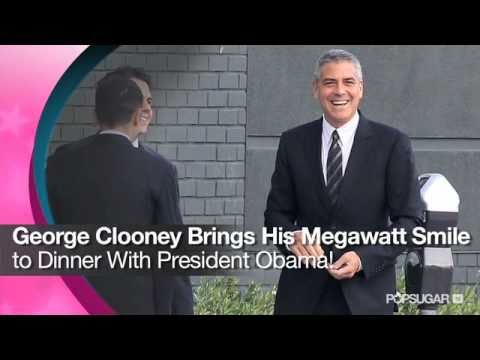 George Clooney Brings His Megawatt Smile to Dinner With President Obama!