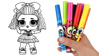 How to Draw LOL Doll 80s BB | LOL Surprise Under Wraps Doll Drawing and Coloring for Kids