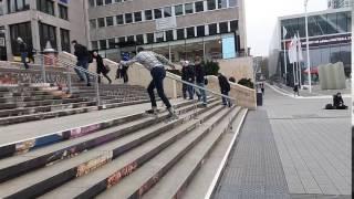 Rollerblader Rolls Down Stairs Backwards