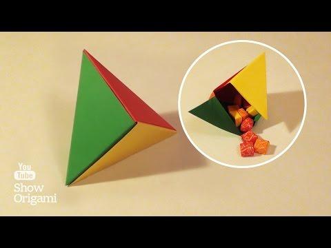 Коробочка треугольник из бумаги