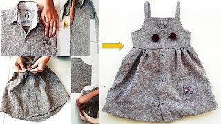 Convert Old Men's Shirt To Cute Summer Baby Frock Quick DIY