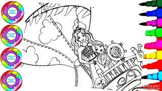 Coloring Pages Disney's Sisters Barbie and Chelsea Hot Air Balloon Ride Coloring Book Pages
