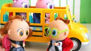 SWTAD Nerlie Preschool First Day! Toys and Dolls Fun for Kids with Toy Toddlers Riding School Bus