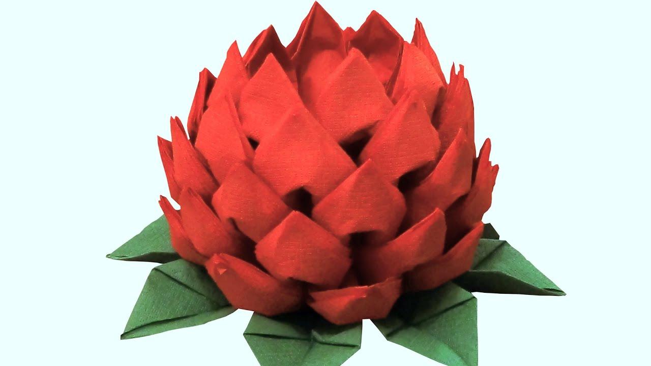 Как из салфетки сделать цветок лотос
