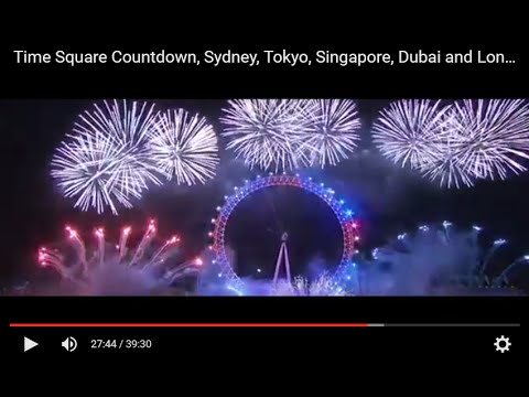 Time Square Countdown, Sydney, Tokyo, Singapore, Dubai and London Fireworks 2016
