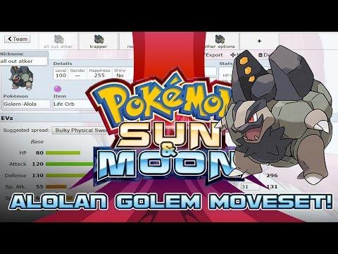 Alolan Golem Moveset Guide! How to use Alolan Golem! Pokemon Sun and Moon! w/ PokeaimMD!