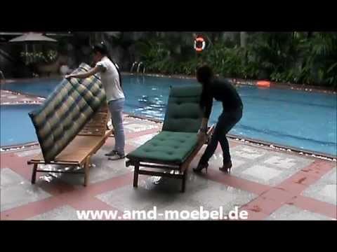 Www.amd-moebel.de - Sunlounger Gruen Sonnenliege Gartenmöbel-Auflage