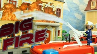 Big Fire Playmobil Fire Engine Station movie stop motion Ladder Unit
