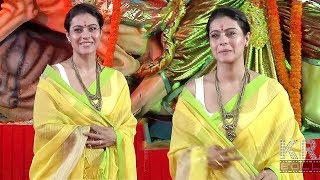 Kajol Devgan In Yellow Saree At Maha Panchami Puja & Murti Sthapna