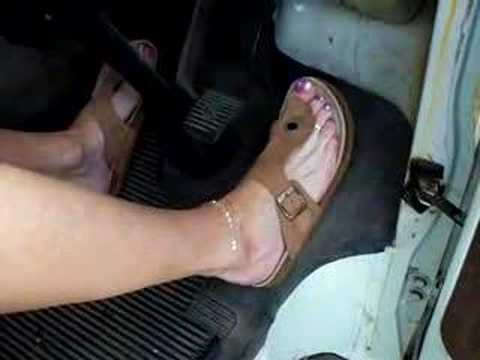 pedalpumping in flipflops she luvs them tickled & touched