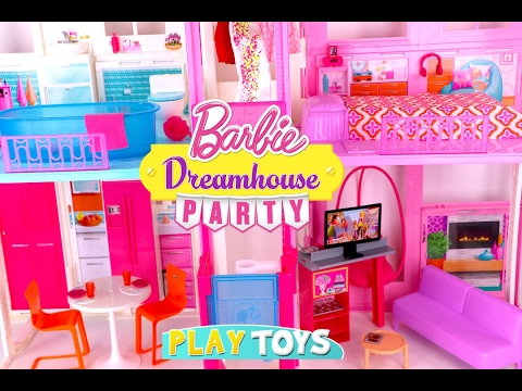Glam Barbie doll house tour - kids how to set up barbie house mansion toy play for girls