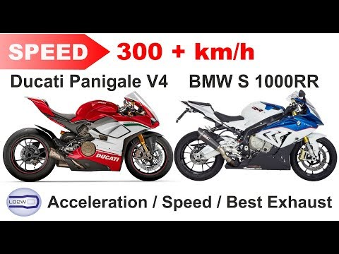 2018 Ducati PANIGALE V4 vs BMW S 1000RR / Acceleration, Top Speed 300+ km/h, Ride and Exhaust