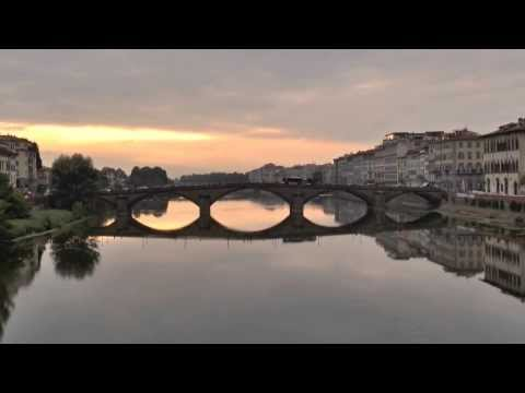 Sunset in Florence Italy - A sight of the bridge