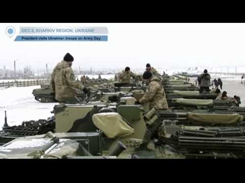 Ukrainian military equipment show - President Poroshenko visits Ukrainian troops on Army Day