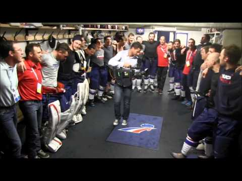 Hockey: France celebrating after winning game vs Russia [La Marseillaise]