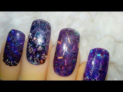 Purple shine gel nails (julie,s nails)