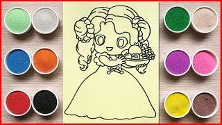 Đồ chơi trẻ em TÔ MÀU TRANH CÁT CÔNG CHÚA BÊ TRÁI CÂY - Colors sand painting toys (Chim Xinh)