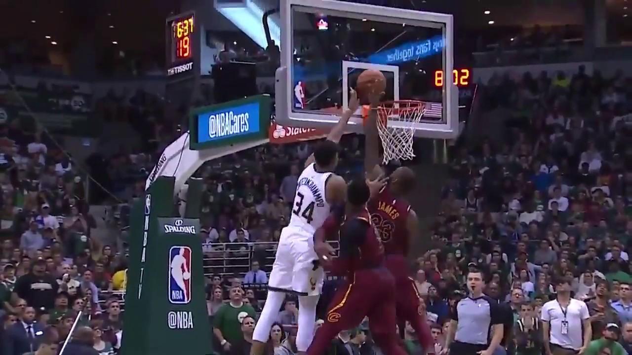 LeBron James Blocks Giannis Antetokounmpo in October Game