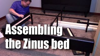 How to assemble the Zinus Deluxe Faux Leather Upholstered Platform Bed with Wooden Slats