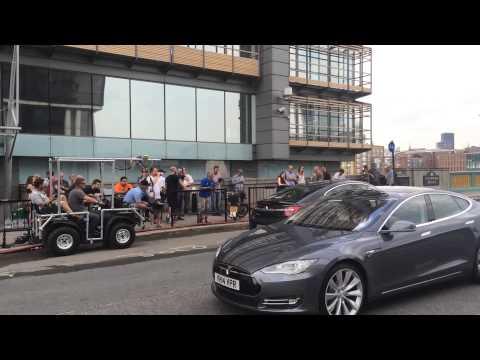 Stunt for Sacha Baron Cohen movie filmed on Southwark Bridge