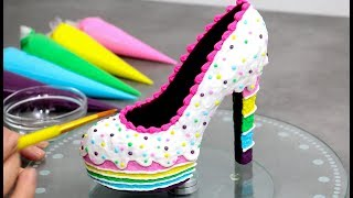 The YUMMIEST  SHOE You Can EAT | Rainbow Cake Chocolate Shoe