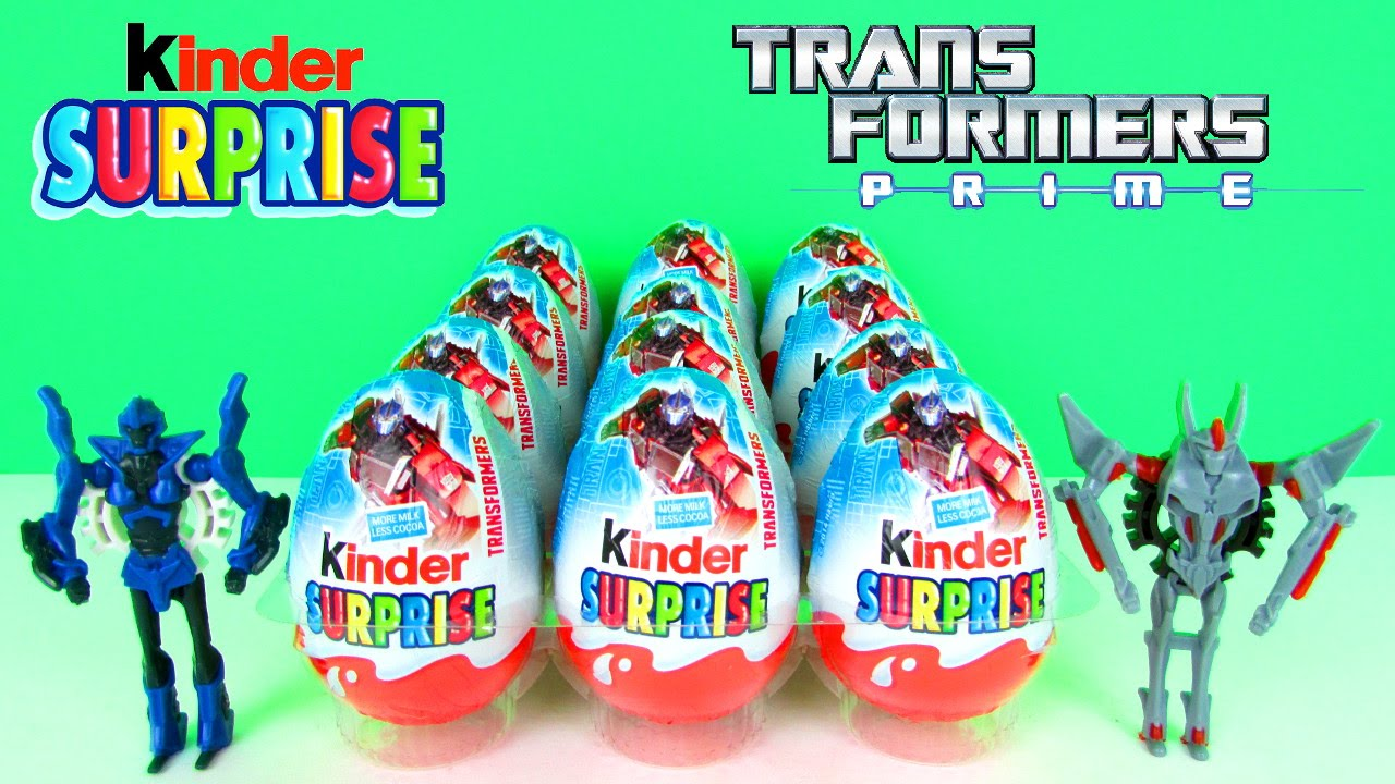 12 kinder surprise eggs transformers prime toys optimus prime vs
