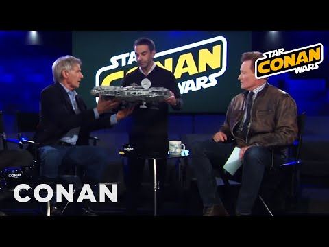 Jordan Schlansky Asks Harrison Ford To Sign His Millennium Falcon  - CONAN on TBS