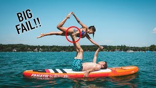 COUPLES YOGA CHALLENGE ON A PADDLE BOARD!! (EXTREME)