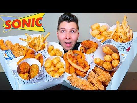 Mozz Sticks, Cheesy Tots, Onion Rings, Cheese Fries, Chicken Fingers • Sonic Snack Box • MUKBANG thumbnail