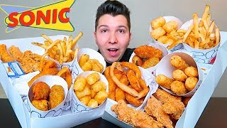 Mozz Sticks, Cheesy Tots, Onion Rings, Cheese Fries, Chicken Fingers • Sonic Snack Box • MUKBANG