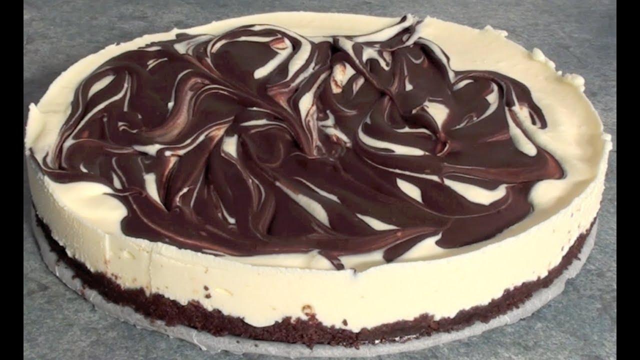 Chocolate Swirl Cheesecake - No bake recipe - YouTube